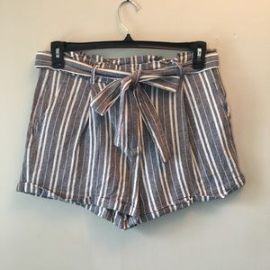 Forever 21 striped linen blend shorts